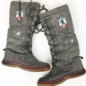 Pajar Gray Lace Up Tall Boots With Leather Lining